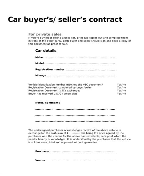 9 Sle Purchase Agreement Forms Sle Exle Format Used Car Agreement Template