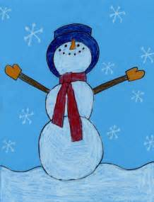 snowman drawing art projects for kids