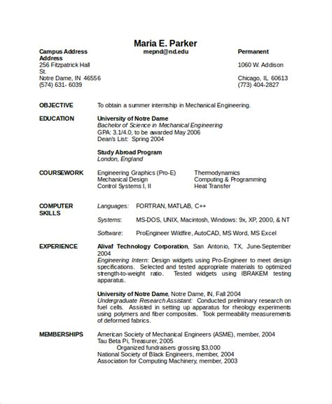 mechanical engineer resume format doc luxury collection solutions