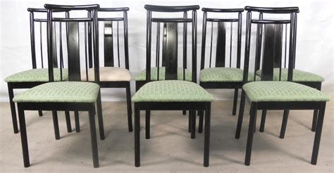 set of eight highback retro dining chairs