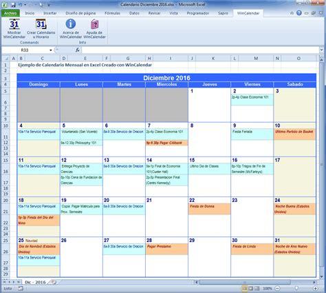 Calendario Excel Wincalendar Creador De Calendario Excel Con D 237 As Feriados