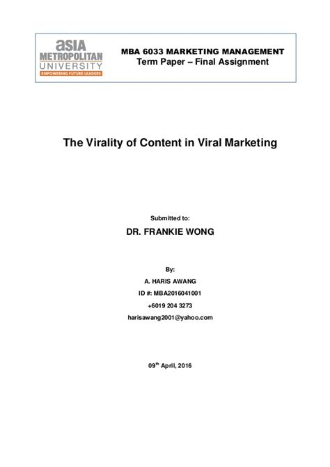 Arkansas State Mba Requirements by The Virality Of Content In Viral Marketing By Haris Awang