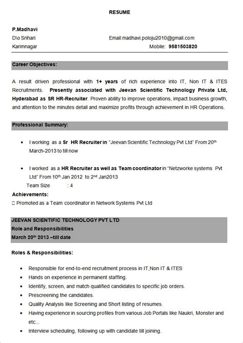 resume format for experienced it professionals pdf resume format for experienced professionals best resume