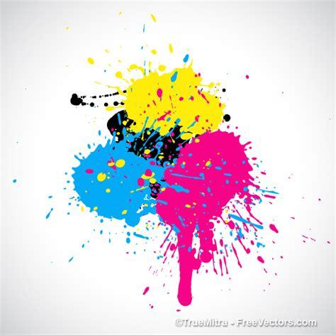 free cmyk paint splashes vector illustration