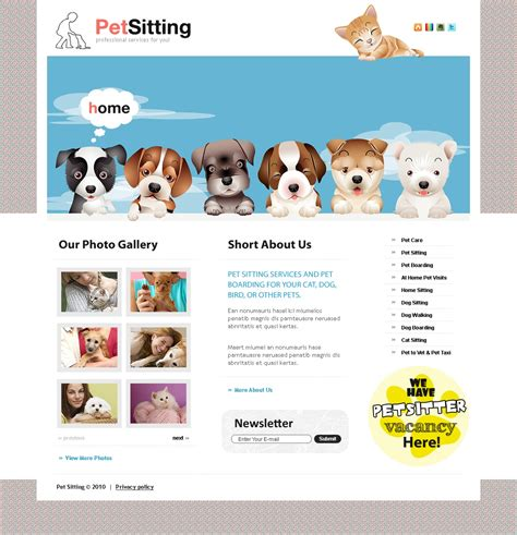 pet templates pet sitting website template 31502