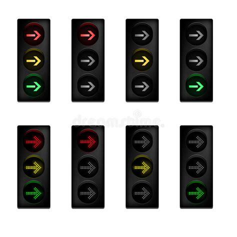 light right turn traffic light set with right turn arrow stock vector