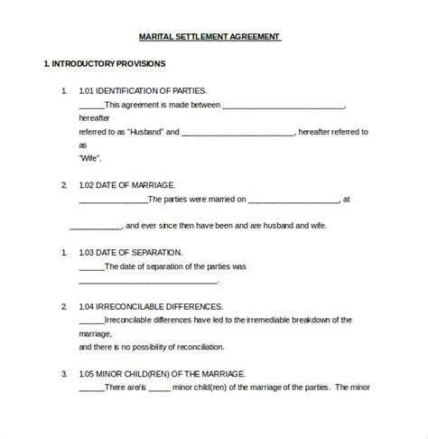 marital settlement agreement template 12 divorce agreement templates pdf doc free
