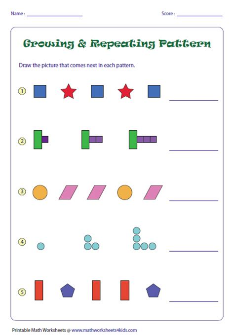 pattern and algebra games pattern worksheets