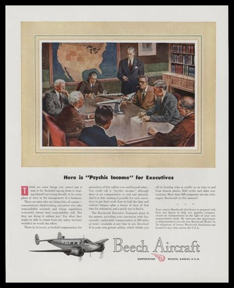 1947 Beech Aircraft Vintage Ad   Psychic Income   VTG Ads.com