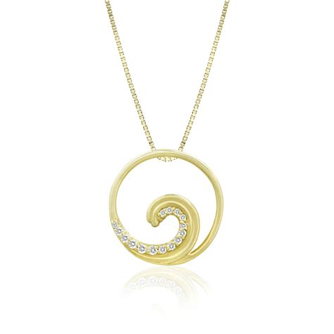 14k yellow gold studded wave pendant