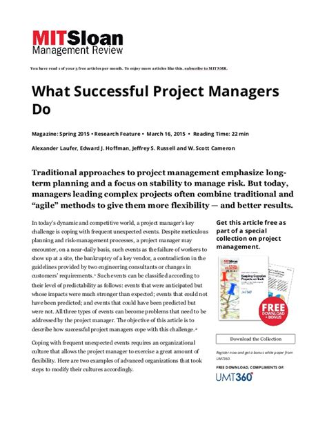 Do Project Managers Make More With An Mba by What Successful Project Managers Do Mit Sloan Management Revi