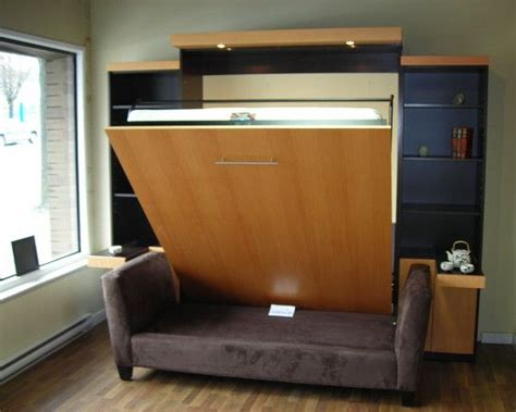murphy bed with couch in front backless sofa in front of a murphy bed entertainment
