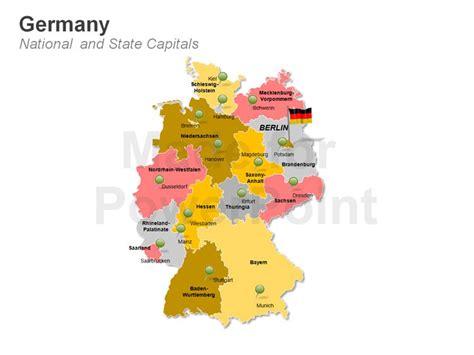 german states and capitals map germany map template editable powerpoint presentations