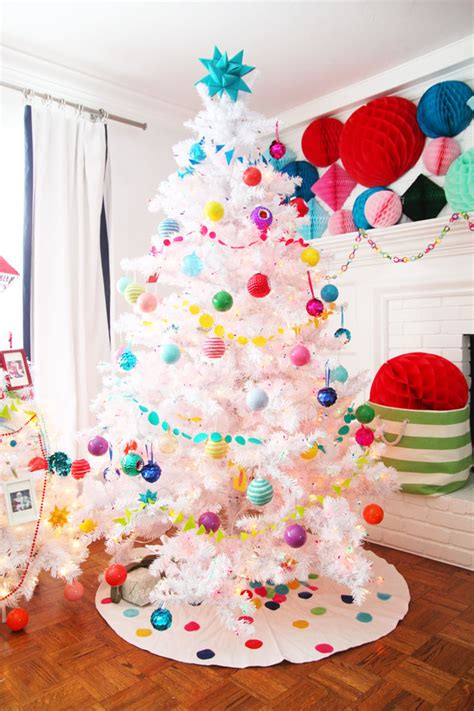 colorful christmas decor white christmas tree with land