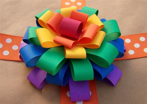 How To Make A Paper Bow - and wisor how to make a loopy paper flower bow
