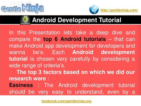 tutorial on android development android development tutorial for beginners