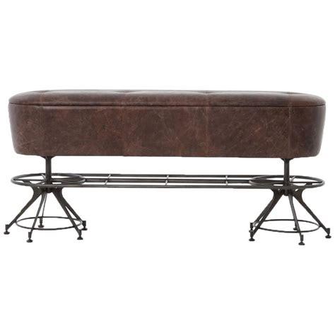 black iron bench pullman industrial loft brown leather black iron counter