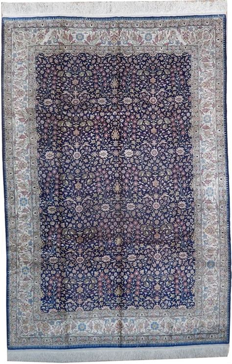 rug 6x8 6x8 turkish hereke silk rug d blue ebay