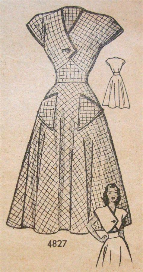 pattern for vintage tea dress 1940s tea dress sewing pattern anne adams 4827 bust 31
