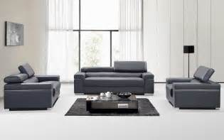 Contemporary Leather Sofa Set Contemporary Grey Italian Leather Sofa Set With Adjustable Headrest San Diego California J M Soho