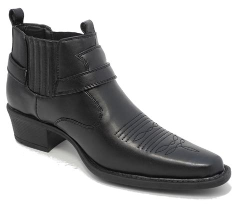 mens us brass wayne black leather look cowboy cuban heel