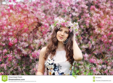 beautiful video beautiful girl with flowers in her hair spring stock