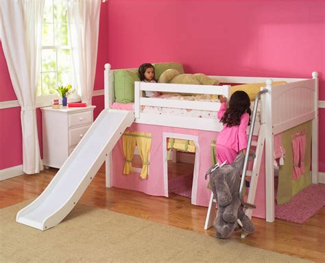 kid loft bed playhouse low loft bed w slide by maxtrix kids pink yellow green on white 320 1s