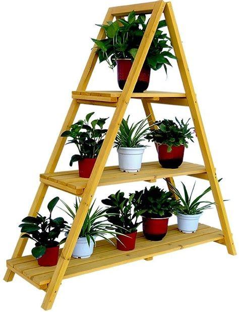wooden ladder plant stand outdoor indoor  layer shelf