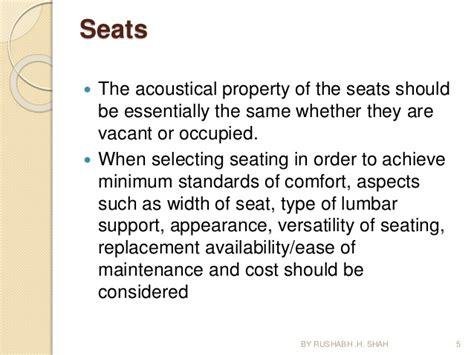 room acoustics design criteria determined according design of seminar hall