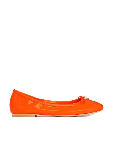 orange flat shoes for lyst sam edelman leather neon orange patent flat shoes