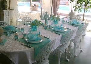 Ideas For Turquoise Table Ls Design Table Decoration With Flowers And Feathers In White And Turquoise Colors