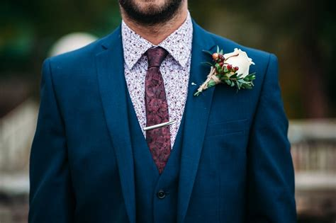 blue suit patterned shirt autumnal rustic themed wedding with navy maroon gold