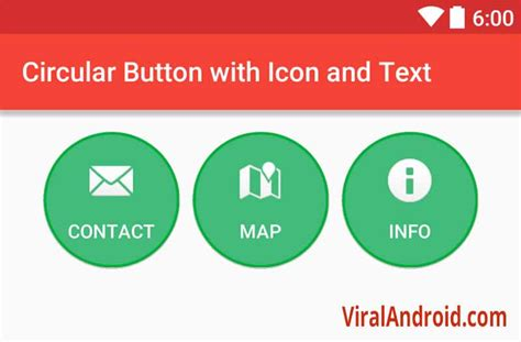 how to create a text on android circular button with icon and text in android viral