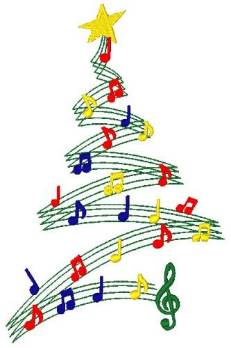 christmas tree musical notes machine embroidery design in