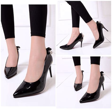 Sepatu Heel Cantik jual shh001 black sepatu heels pesta cantik 8cm