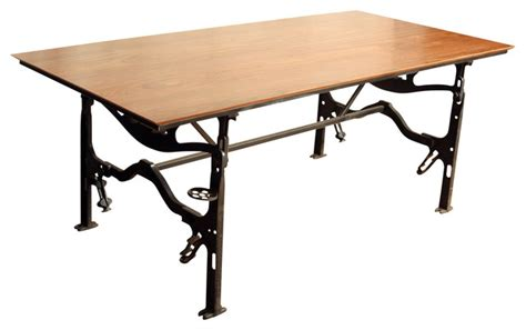 eclectic dining tables industrial dining table cast iron base jatoba top