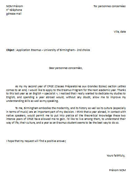 Lettre De Motivation Anglais Stage à L étranger Cover Letter Exle Exemple De Lettre De Motivation Pour Inscription En Universit 233