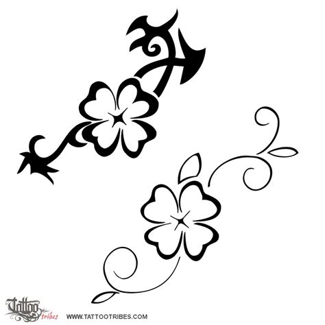 four leaf clover tribal tattoos of 4 leaf clover luck custom