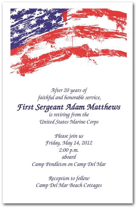 Usa Flag Invitations 4th Of July Invitations Military Invitations Free Guard Invitation Template