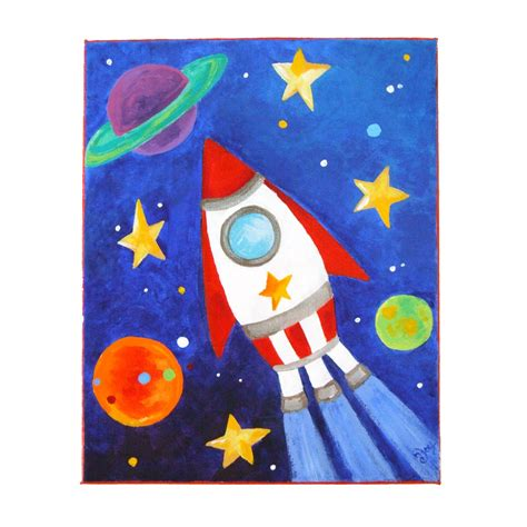Fish Home Decor Accents by Art For Kids Rocket Ship 8x10 Acrylic Canvas Space By Njoyart
