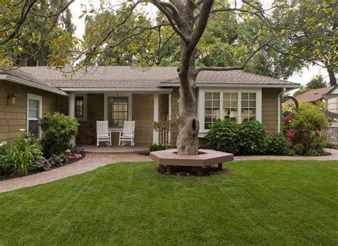 Small Brick House Curb Appeal Tree Bench Designs That Literary Embrace Nature