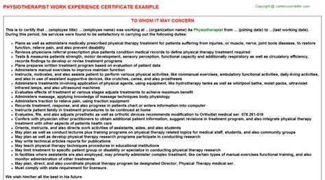 Work Experience Letter Physiotherapist Physiotherapist Title