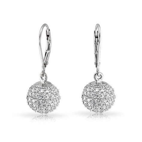 modern 925 silver pave cz leverback dangle earrings 10mm