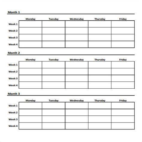 printable table planner weekly workout template calendar template 2016