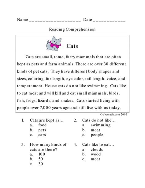 reading comprehension test multiple choice reading comprehension worksheets multiple choice free