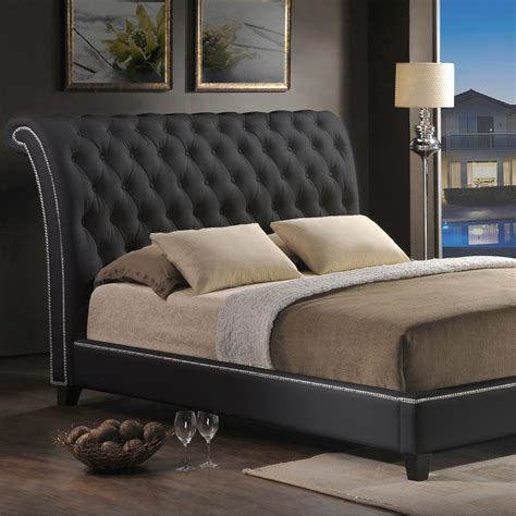 Upholstered King Size Beds by Baxton Studio Jazmin Transitional Black Faux Leather