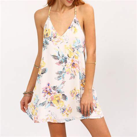 Dress Motif Mini Dress Flower Dress Summer Dress 2017 summer dress backless flower print strappy