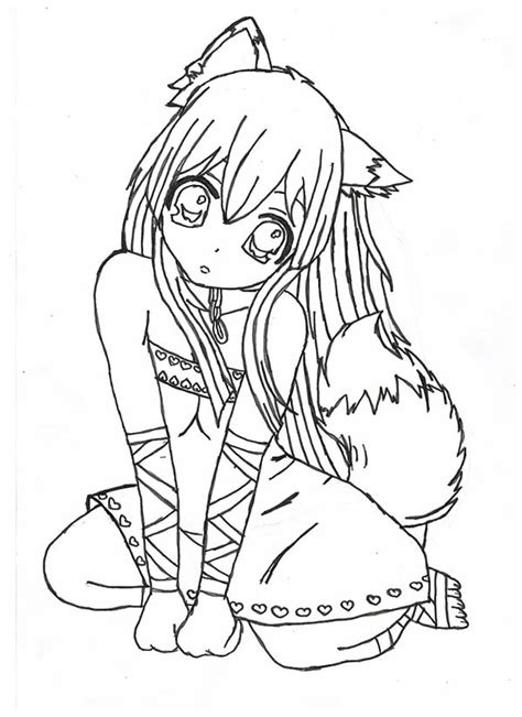 manga girl coloring pages emo wolf couple emo anime girl coloring pages color and