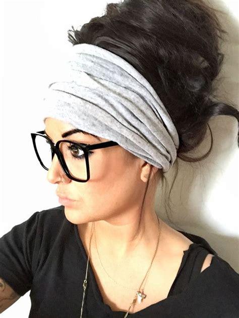 Turban Bunny Pita With Curly Hair gray scrunch headband wide headband turban