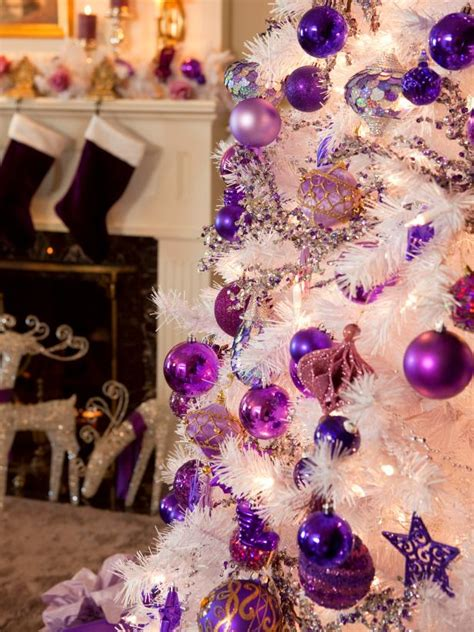 purple and tree decorations retro inspired purple and white decorations diy